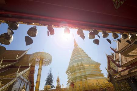 A horizontal image of a Buddha statue at Wat Doi Suthep temple in Chiang Mai, Thailand. Фото со стока