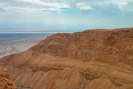 uninhabited: View from Masada fortress, Israel Stock Photo