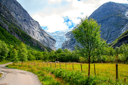 Briksdal glacier at the foot