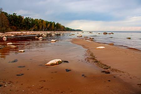 Stony coast of the Baltic Sea. Kaltene