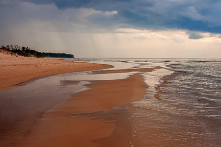 Bernati coast approaching thunderstorm. Baltic Sea