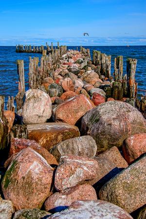 Engure breakwater. The Gulf of Riga. Baltic Sea Stock Photo