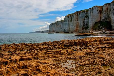 Normandy limestone cliffs with its beautiful shape Stock Photo