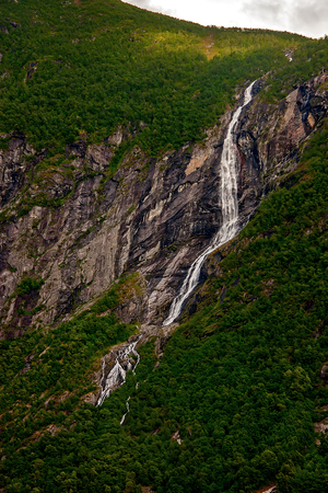 Waterfall, Geiranger Fjord Stock Photo