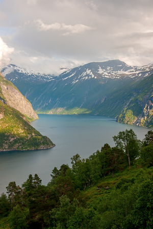 A landscape view from Geiranger fjord, Norway Stock fotó