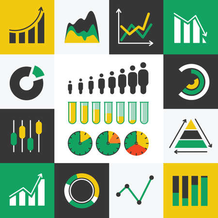 Business Infographic icons with diagram- Vector Graphics Vector