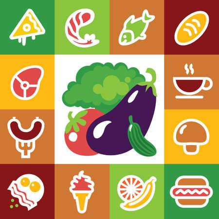 Food Icons - illustration, fresh seafood, fruits, vegetables Vector