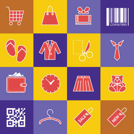 Modern flat icons vector set in stylish colors of shopping objects and items. Vector