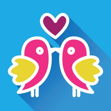 innamorati che si baciano: Amanti baciare uccelli in stile appartamento Vettoriali
