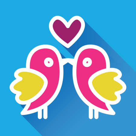 ornithological: Lovers kissing birds in flat style Illustration