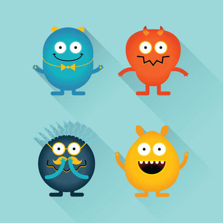Emotional funny monsters Vector