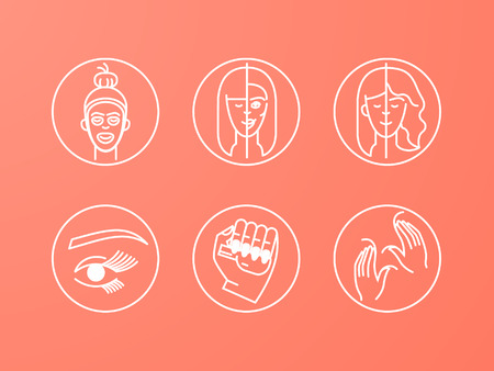 A set of cosmetology icons: darsonvalization, laser cosmetology, lifting, skin cleansing, massage, cosmetic injections, aesthetic procedures, cosmetics and treatments, mask, cosmetic injections, hairdressing, visage, manicure, pedicure. Standard-Bild - 124700617