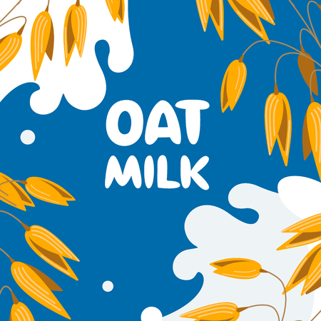 Realistic oat bunch, yellow sereals for backery, flour production design. Vector wheat ears spikelets with grains in milk splash. Whole stalks, organic vegetarian food packaging element illustration.