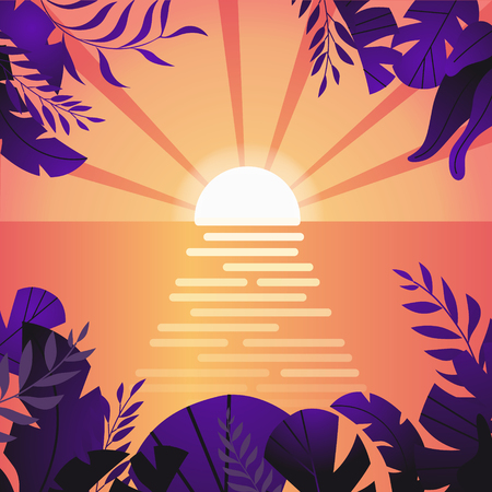 Summer tropical background with palms, sky and sunset. Sunset from the forest. Summer poster poster flyer invitation card. Summer