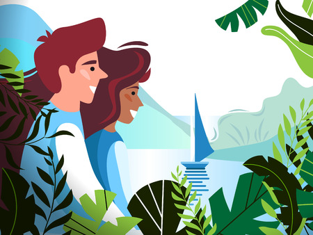A romantic young couple from the forest is looking at the bay and the ship, surrounded by beautiful tropical leaves. Vector illustration for cards, posters, advertisements.