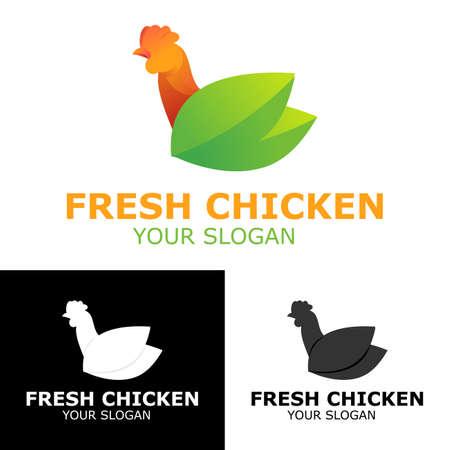 fresh chicken icon logo design