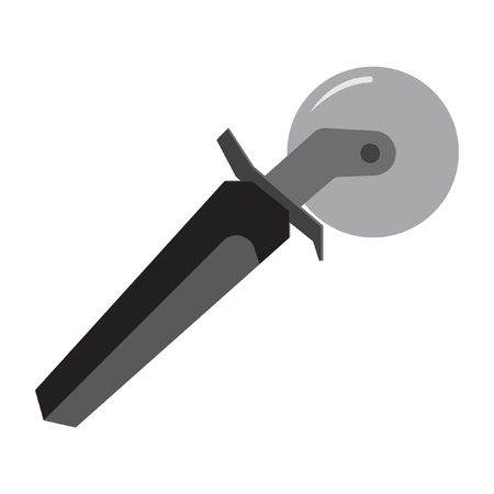 pizza cutter: A pizza knife icon flat color. Illustration