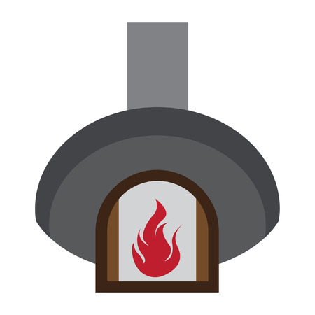 roasting: A pizza oven flat color.