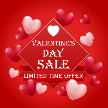 Valentines Day sale banner template with text special offer valentine`s day . Vector illustration
