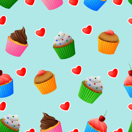 Seamless pattern of yummy colored cupcakes Illustration