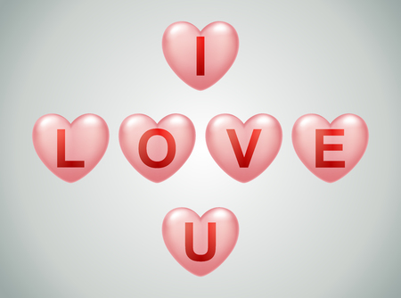 i love u text in ballon valentines , vector illustration.
