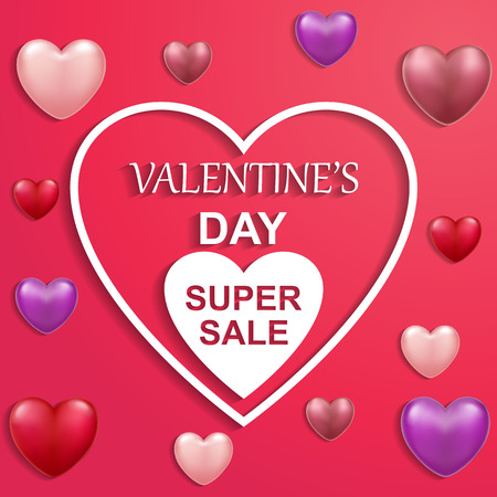 Valentines Day card sale with heart ballons with text. Vector illustration
