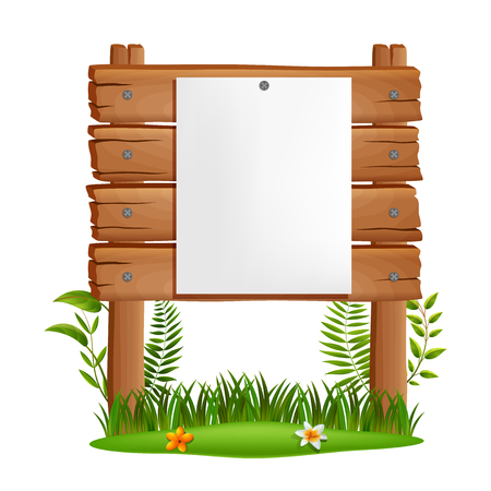 wooden board on a grass . vector illustration Stockfoto - 110738701