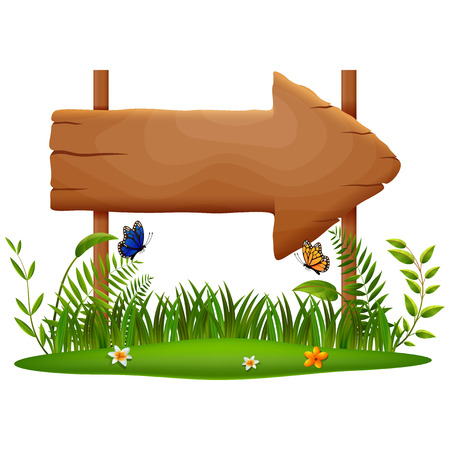 wooden board on a grass . vector illustration