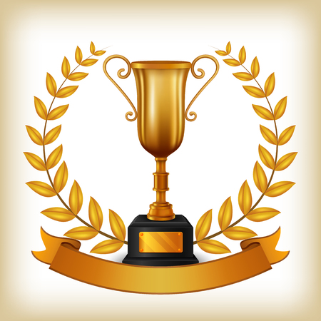Winner cup with laurel wreath and copy space on golden ribbon. vector illustration
