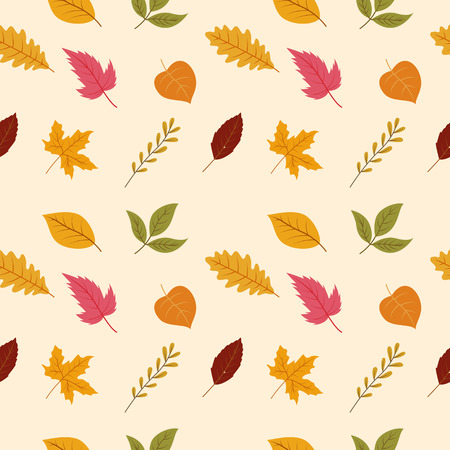 Seamless pattern of autumn leaves. Various veined leaves on white background.