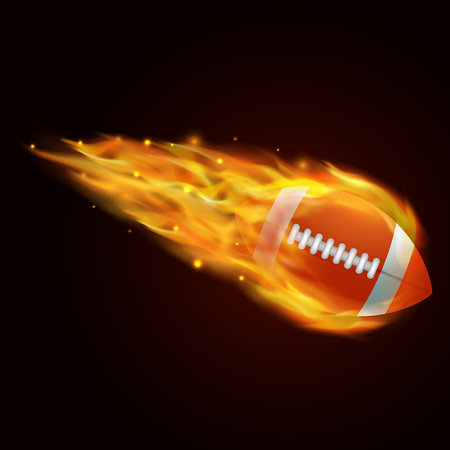 rugby ball with fire effect illustration