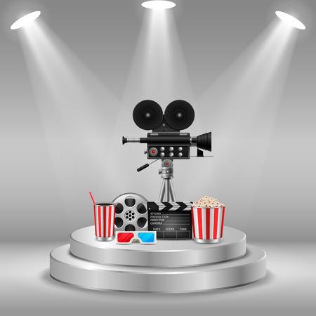 Cinema concept with movie theatre elements set of film reel, clapperboard, popcorn, 3d glasses, camera. vector illustration