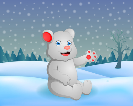 Vector winter nature background with cute bear illustration