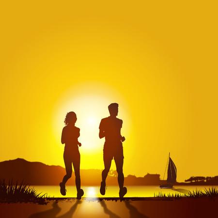 couple jogging at sunrise