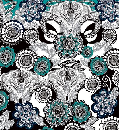 Traditional pattern, ethnic handmade ornament, fabric print. - Illustration