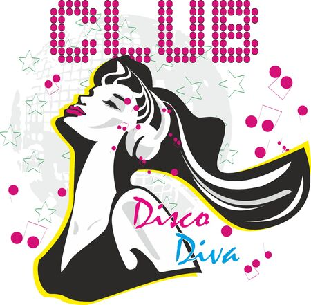 Dancing girl vector print,funny background for party