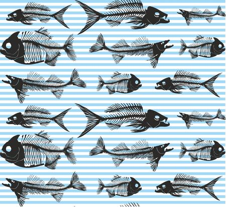 Fish seamless pattern. Animal background. Blue stripes. - Vector
