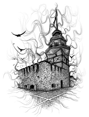 Maidens Tower in istanbul Turkey, hand drawn sketch. Drawing of Bosphorus. - Illustration