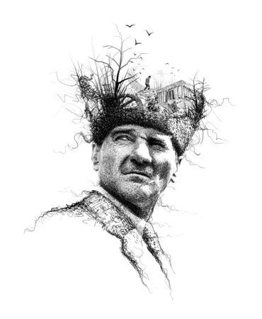 Ataturk illustration, Leader of Turkey,President drawing,collage art