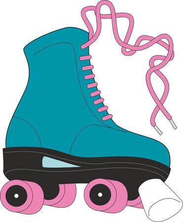 Retro quad roller skates, hand drawn illustration isolated on white background. Realistic hand drawn, sketch style pair of colorful quad roller skates with pink laces. - Vector