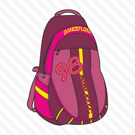 Sports, travel, gym bag, outdoor folding storage package, woman and man accessories. - Vector