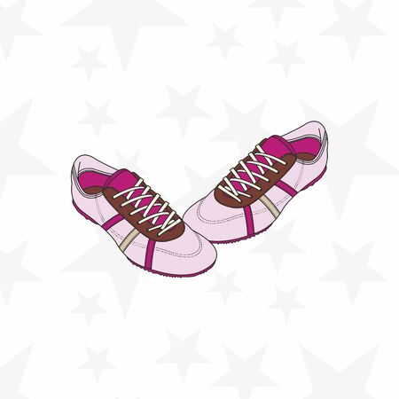 Sneaker for man or woman. Trainer running casual gym shoes. Sports accessory. - Vector