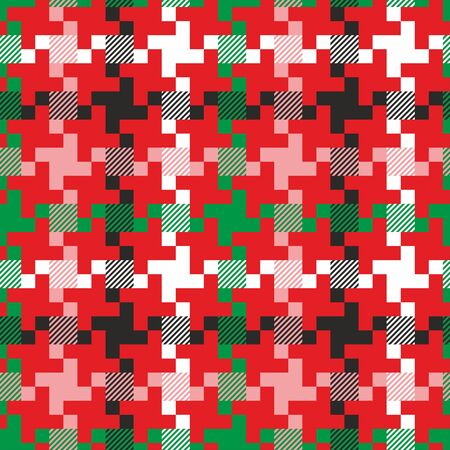 Christmas pattern with geometric shapes. Green, black and red seamless background. - Vector