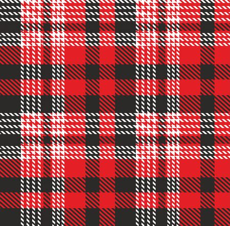 Patrón de cuadros. Plantilla para tejidos de ropa. Leñador rojo. Estampado de camisa de franela de tartán sin costuras. Fondo decorativo de Navidad - Vector