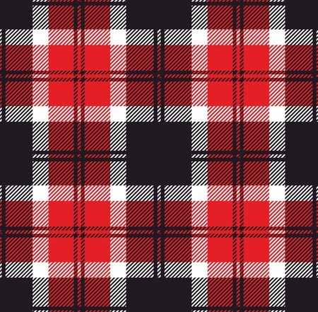 Plaid pattern. Template for clothing fabrics. Red Lumberjack. Seamless tartan flannel shirt print. Christmas decorative background - Vector