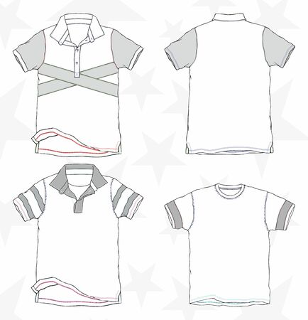 T-shirt mockup. Clothing, textile template set. - Vector