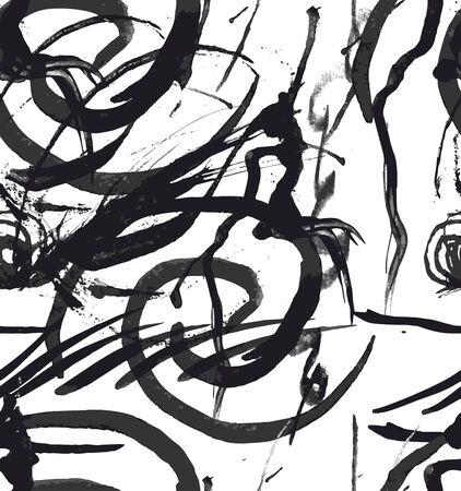 Seamless grunge, splash vector pattern, brush strokes background, watercolor, ink.