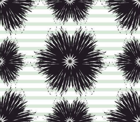 Black flowers brush strokes. Seamless monochrome floral pattern. Green lines. - Vector