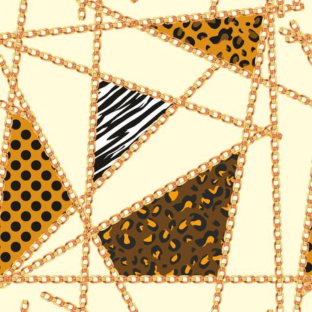 Animal skin texture with golden chains on colored background. Seamless fashion print for fabric. - vector Archivio Fotografico - 134673380