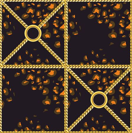 Leopard skin pattern with golden chains. Luxury design print for fabric on black background. - Vector